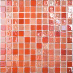 "Orange Blossom #402 Vidrepur Lux Glass Mosaic Tile, 25mm - 1"", 1 sheet"