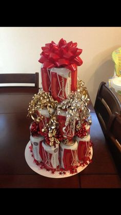 Budweiser beer cake made from cans