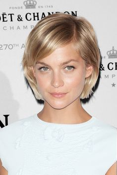 Fall Hair: New Looks, New Heights This tiny bob's length and cut has the power to solve the world's in-between-hair problems. Plus, the deep side part adds an edgy element and we love how it's pushed back toward her ears rather than in her face like most bobs. It works perfectly with her heart shaped face.
