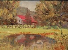 Blackberry Farm by Tommy Thompson Oil ~ 6 x 8, Sold. I found the blackberry farm near Leiper's Fork, TN, and was entertained by   children who were picking their own blackberries.