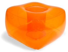 Fun and colorful, surprisingly comfortable Bubble Inflatables Tangerine Orange Inflatable Ottoman, perfect for college dorms, sleep-overs, play rooms and more. Ottomans are super-sturdy, made from thick 0.40mm 6P FREE PVC, and can hold up to 175-pound, so they're not just for kids (although kids sure do love 'em). Ottomans measure a full 26 by 26 by 17-inch. Each is inflate-tested for 24-hour before packaging.