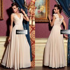 Buy Designer Nude V Neck Wedding Bridal Ball Party Evening Dress Gown SKU-122683
