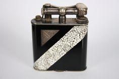 Lighter Dunhill laque décor coquille d'œuf art déco . Collection C Viriot