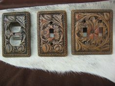 Western Light Switch Plates-Tooled Leather Look-Western Light Switch Plaes
