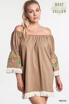 Umgee+ Mocha Floral Embroidery Finge Tassel Tunic Dress Plus Size XL 1XL 2XL #Umgee #Tunic #Casual
