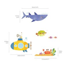 Amazon.com: Decowall, DAT-1611, Sea Adventure peel & stick Nursery wall decals stickers: Home & Kitchen