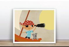 INSTANT DOWNLOAD  Pirate and Dog Printable Poster by ByYolanda