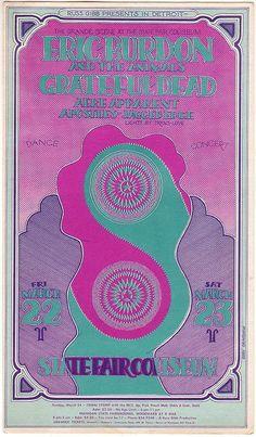 3/22-23/68 postcard  Venue: State Fair Coliseum, Detroit, MI Artist: Gary Grimshaw