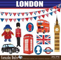LONDON CLIPART - Personal and Commercial Use Clip Art:Originals design elements. $6.00, via Etsy.