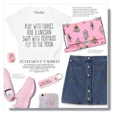 """Slogan T-shirt."" by arwitaa ❤ liked on Polyvore featuring Lacoste L!VE, Various Projects, Prada and Eos"