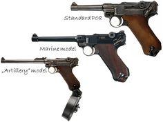 "Luger pistols - 9x19mm Luger P08 Marine Luger P08 with 150 mm barrel Luger LP08 long barreled ""Artillery"" model with Trommelmagazin 08 snail drum magazine (Germany)"