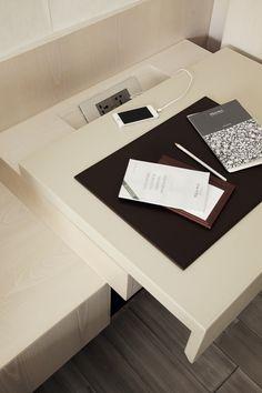 hotel room, bedroom, desk, cable management