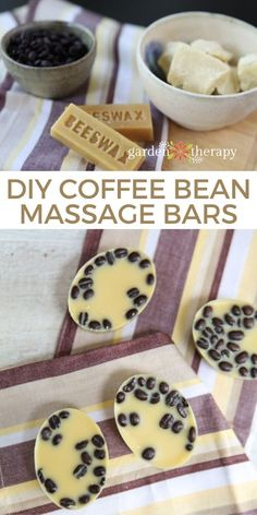 Solid massage bars are a great way to soften skin without the mess of massage oil. The beeswax, cocoa butter, and coffee beans add so much fragrance to this recipe that no additional essential oils are needed for aroma. The soothing scent combination, skin-nourishing ingredients, and relaxation of a massage all come together in these coffee bean massage bars for an at-home spa experience that will make weary muscles and minds feel renewed. #gardentherapy #naturalskincare Lotion Bars, Coffee Roasting, Cocoa Butter, Herbal Remedies, Coffee Beans, Herbalism, Therapy, Homemade, Massage Oil