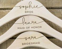 Custom Engraved Gifts by DarkhorseGifts on Etsy Bride Hanger, Wedding Dress Hanger, Wedding Hangers, Etsy Bridesmaid Gifts, Bridesmaid Proposal, Personalized Hangers, Bride Gifts, Engraved Gifts, Wedding Stuff