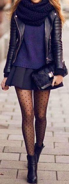 I love these patterned tights with the skirt and leather jacket for a winter look
