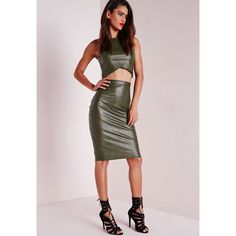 Missguided Faux Leather Midi Skirt (45 CAD) ❤ liked on Polyvore featuring skirts, khaki, vegan leather midi skirt, faux leather midi skirt, missguided skirt, evening skirts and cocktail skirts