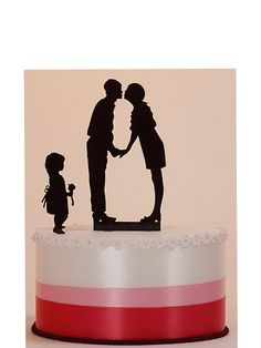 Wedding Cake Topper Custom Silhouette with Child by PaperPortraits, $85.00