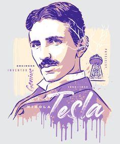 Illustrated by Greg Stevenson. Represented by Art Inc. Nikola Tesla, Science Art, Science Quotes, Einstein, Tesla Quotes, Aliens, Photo Illustration, Line Art, Illustrators