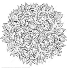 Abstract Flowers Zentangle coloring page from Zentangle category.
