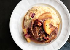 Braised Pork Shoulder with Apples and Cheesy Grits.