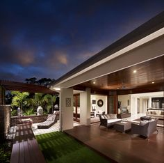 Find this Pin and more on Metricon Design love & Patio/Alfresco inspo. Outdoor Pergola, Outdoor Areas, Backyard Patio, Style At Home, Patio Design, House Design, Outdoor Fireplace Designs, Outdoor Living Rooms, Tropical Houses