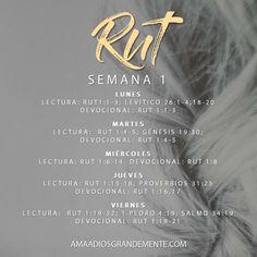 Plan de Lectura - Semana 1 #RUT #LibrodeRut #AmaaDiosGrandemente #ComunidadADG #ADGenespanol #Biblia #Dios #Devocionalparamujeres