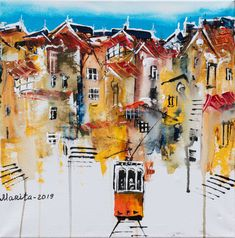 Lisbon, Original Art, Elephant, Paintings, Sky, The Originals, Canvas, Gallery, Artist