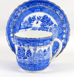 Arte Deco patrón sauce té trío inglés Fine Bone China por Plenishin