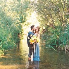 outdoor engagement photo shoot ideas with pretty yellow bouquet and nude silk ribbons