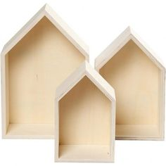 3-teiliges Set Holzbox, Regalbox Hausform, Wandregal Wanddekoration, Holz unbeh…