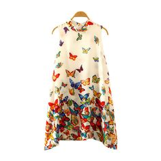 SheIn(sheinside) Multicolor Butterfly Print Swing Dress ($14) ❤ liked on Polyvore featuring dresses, multicolor, tent dress, swing dress, multicolored dress, multi colored dress and multi-color dress