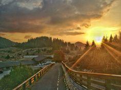 Sunset - Beautiful warm sunset in Cheile Gradistei Railroad Tracks, Warm, Mountains, Sunset, Places, Nature, Travel, Beautiful, Naturaleza