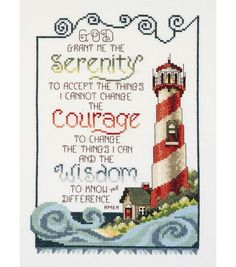 Janlynn Cross Stitch Kit, Serenity Lighthouse: A piece of American history and a mainstay for farmers across the world. This nostalgic Counted Cross Stitch design by Stoney Creek is Made in the USA by Janlynn. Counted Cross Stitch Patterns, Cross Stitch Designs, Cross Stitch Embroidery, Embroidery Patterns, Cross Stitching, Hand Embroidery, Cross Stitch Cards, Learn Embroidery, Serenity Prayer