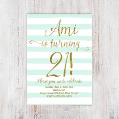 21st Birthday Invitations For Women Mint InvitationsDigital Gold Party 13th Parties