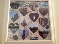 Places we've been: Instead of using maps of places my boyfriend and I have traveled together, I used pictures we took of iconic landmarks while we were there. I think this makes it more personal than just a map. I cut them into hearts and arranged on map scrapbook paper and decorated. On a 12x12 sheet of paper, I had room for 12 hearts. Dublin, Belfast, Mall of America, Comerica Park in Detroit, Cinderella's Castle, St. Augustine, Washington DC, Oklahoma City, Edinburgh, London, Prague, and…
