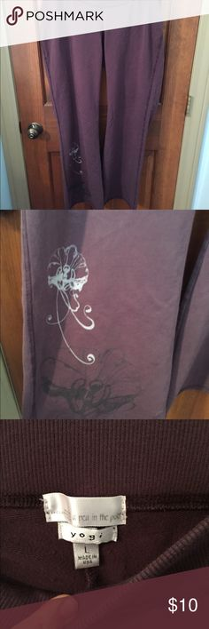 Designer maternity sweat pants Purple yoga style sweatpants with design on the leg. No stains. A Pea in the Pod Pants
