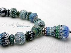 Lonelybead Handmade Lampwork 46 Art Glass Bead SRA Lonely Beach Set | eBay