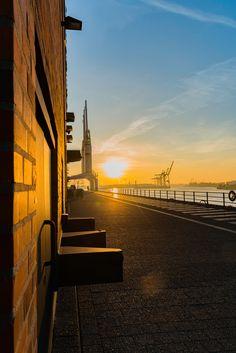 Hamburg Elbphilharmonie Sonnenaufgang mit Kränen | Bildschönes Hamburg | Online Shop