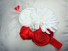 Baby Headband Rosette Flower Headband Headband by lepetitejardin, $23.95