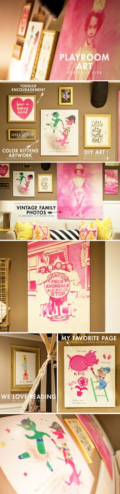 Lay Baby Lay: playroom art: would like to try the pink one with some of the old photos we have, the happy heart one, and the color kittens.