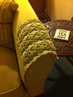 Chair Arm Covers. So Easy Fan Stitch With Chain Inbetween.