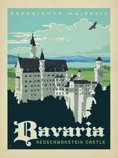 This ready to hang, gallery-wrapped art piece features an illustration of Neuschwanstein Castle in Bavaria. Anderson Design Group, Inc. founder Joel Anderson graduated from Ringling School of Art and Tourism Poster, Photo Vintage, Neuschwanstein Castle, Kunst Poster, Thinking Day, Art Graphique, Vintage Travel Posters, Illustrations And Posters, Stretched Canvas Prints