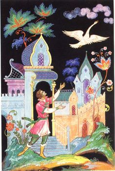 Царевна-Лягушка    Then she turned into a grey cuckoo and flew out of the window. And the prince wept bitterly...