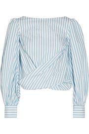 Johanna Ortiz - Bahia open-back striped cotton-poplin wrap top