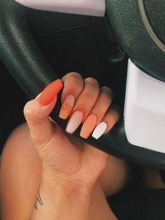 Acrylic Nails Natural, Summer Acrylic Nails, Best Acrylic Nails, Acrylic Nail Designs, Spring Nails, Summer Nails, Acrylic Nails Orange, Orange Nail Designs, Orange Ombre Nails