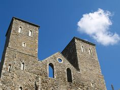 The twin towers of St Mary's Church Reculver , Kent , UK