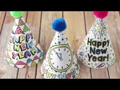 Printable new year's eve party hats - myprintly new years with kids, diy projects videos Crafts For Kids To Make, Kids Diy, New Years With Kids, Diy Party Hats, Templates Printable Free, Printables, Homemade Mothers Day Gifts, Kawaii Diy, Hat Crafts