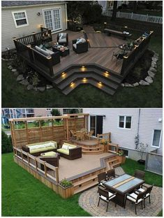 Desk ideas home: outdoor living in 2019 house deck, backyard patio, patio. Backyard Gazebo, Backyard Landscaping, Deck Patio, Small Backyard Decks, Backyard Pavilion, Landscaping Ideas, Small Decks, Patio Stairs, Patio Wall