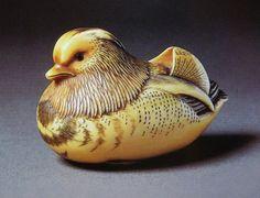 Netsuke- Mitsuhiro Mandarin Duck in Ivory