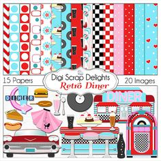 Retro 1950s Diner in Red Aqua Turquoise by DigiScrapDelights Clip Art and Digital Papers Diner Scrapbook Kit